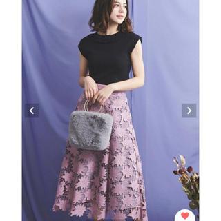 Noela - ノエラ スエード刺繍レース スカート ラベンダー