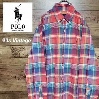 ポロラルフローレン(POLO RALPH LAUREN)の《美USED》ポロ ラルフローレン 刺繍ロゴ チェックシャツ(シャツ)