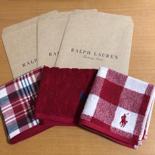 POLO RALPH LAUREN - 即購入OK♪♪ ポロラルフローレン ハンドタオル 赤3枚セット♪♪