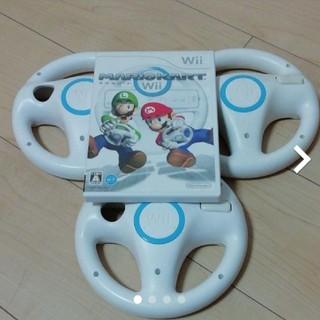 Wii - マリオカートWii + ハンドル 3個セット
