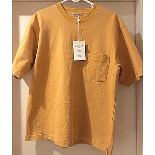 AURALEE  18SS  スタンドアップTシャツ 3  キャメルイエロー