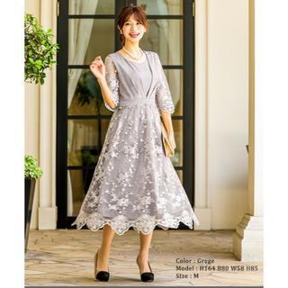 ファッションレター サテン×レース切り替えシースルードレス(ロングドレス)