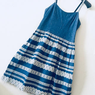 JaneMarple - 【Jane Marple】デニムレース刺繍ジャンパースカート