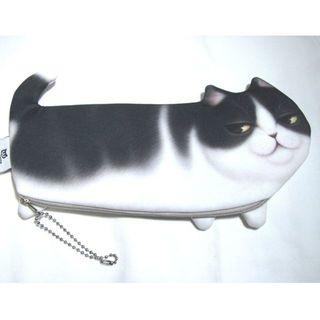 黒白 猫 ネコ プリント 柄 かわいい ペンケース 筆箱 ボールチェーン付き