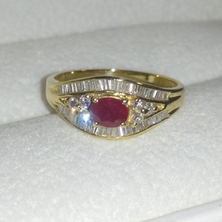 K18 ルビー ダイヤモンド リング 指輪(リング(指輪))