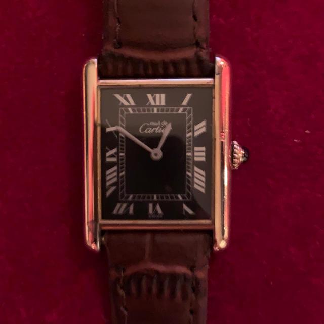 Cartier - 【カルティエ マストタンク】ブラック文字盤 LMサイズ 手巻きの通販