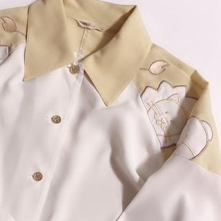 グリモワール(Grimoire)のレトロ古着 アニマル刺繍 くまとライオン オフホワイト シャツ キュート(シャツ/ブラウス(長袖/七分))