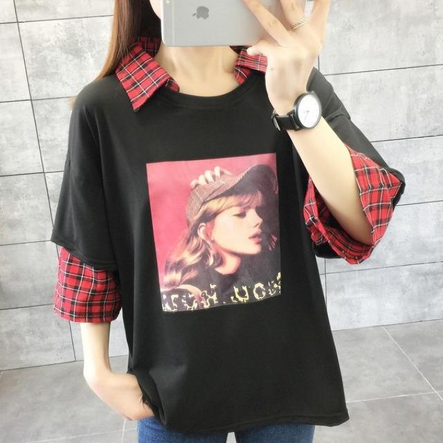 【即購入OK】大きいサイズ レディース チェック重ね着風トップス レディースのトップス(Tシャツ(半袖/袖なし))の商品写真