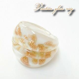 VR2 冬色ホワイトゴールド ベネチアガラス リング ベネチアリング 指輪(リング(指輪))