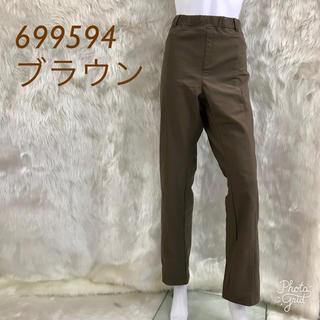 ぽちゃかわ☆ウエスト板ゴム らくらくパンツ699594☆5L ブラウン(カジュアルパンツ)
