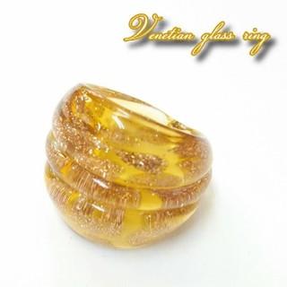 VR14 イエローゴールド ベネチアガラス リング ベネチアリング 指輪(リング(指輪))