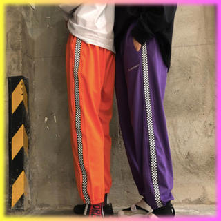 【割引価格】オレンジ 男女◎サイドチェック ラインパンツ 111504(カジュアルパンツ)