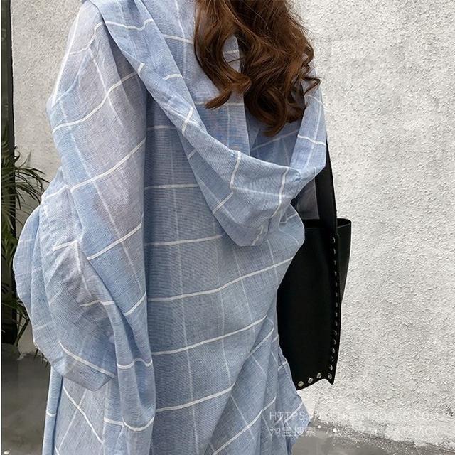 【即購入OK】大きいサイズ フード付きロングシャツ レディースのトップス(シャツ/ブラウス(長袖/七分))の商品写真