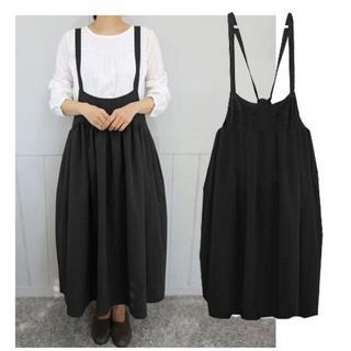 新品☆5XL(大きいサイズ)黒サロペット風のかわいいロングスカート(ロングスカート)
