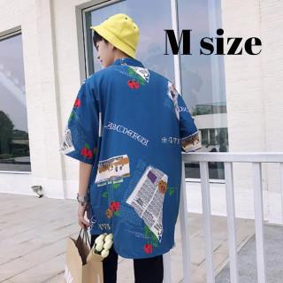 メンズ シャツ レトロ オルチャン ストリート 柄シャツ ブルー Mサイズ(シャツ)