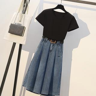 大きいサイズ レディース Tシャツ&デニムパンツ 上下セット(バギーパンツ)