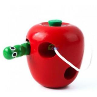 りんごのひもとおし はらぺこあおむし 木のおもちゃ 知育玩具