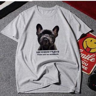 新品★10XL(大きいサイズ)フレンチブルドッグ☆グレー半袖Tシャツ(Tシャツ(半袖/袖なし))