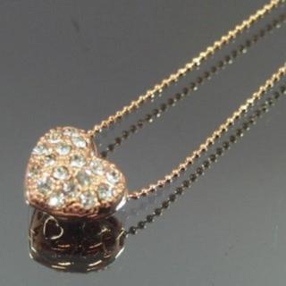 パヴェハートネックレス ピンクゴールド×クリア スワロフスキー社製クリスタル(ネックレス)