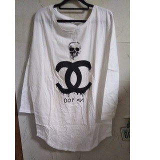 大セール!!男女兼用フリーサイズ ロングスリーブ ホワイトTシャツ