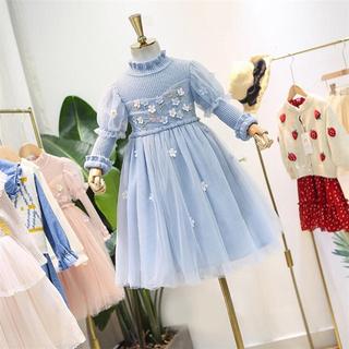 立体 小花 刺繍 ニット チュールレーススカートワンピース ドレス 発表会