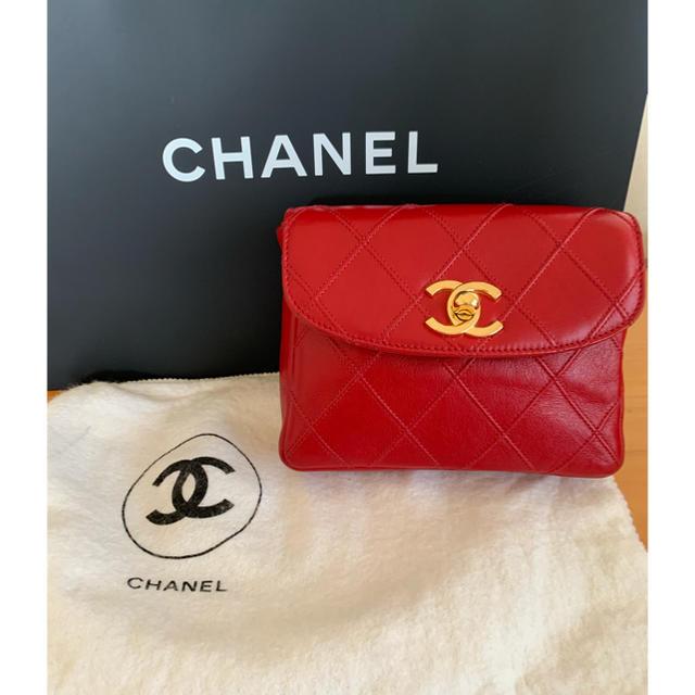 CHANEL(シャネル)のシャネル ヴィンテージ マトラッセウエストポーチ 赤 レディースのバッグ(ボディバッグ/ウエストポーチ)の商品写真