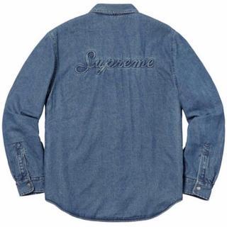 Supreme - 【M】Supreme Sherpa Lined Denim Shirt 青