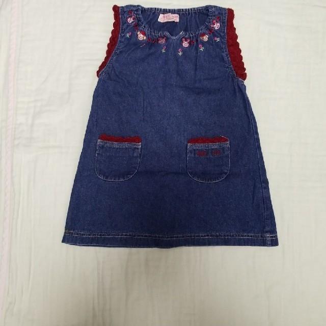 95cm女の子デニムワンピース キッズ/ベビー/マタニティのキッズ服女の子用(90cm~)(ワンピース)の商品写真
