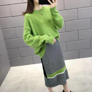 LASA054春秋冬レディースゆったり ニットセーター+スカート(4色S-XL)(ロングワンピース/マキシワンピース)