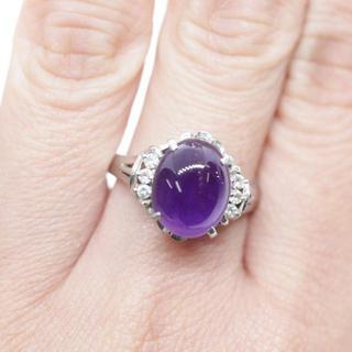 トクトクジュエリー アメジスト プラチナ ダイヤモンド リング(リング(指輪))