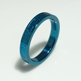 アウトレット 名入れ無料 平仮名 漢字可  ローマナンバーブルー リング 1個 (リング(指輪))