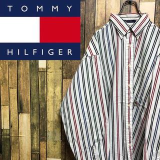 トミーヒルフィガー(TOMMY HILFIGER)の【激レア】トミーヒルフィガー☆オールド刺繍マルチカラーストライプシャツ 90s(シャツ)