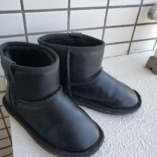 BREEZE - キッズ ブーツ レザーブーツ ムートンブーツ!黒 19㎝