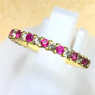 k18yg ルビー ダイヤモンド リング 指輪 イエロー ハーフエタニティ(リング(指輪))