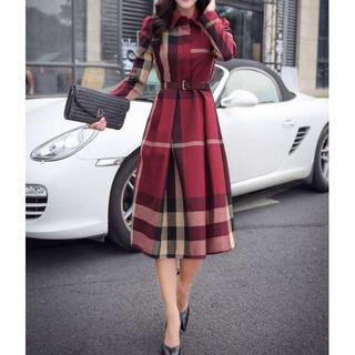 すぐ発送♡チェック柄 レディース ワンピース ドレス ベルト付き スカート 赤(ロングワンピース/マキシワンピース)