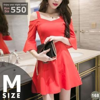 キャバドレス 168R 赤 Aライン ミニ ベルスリーブ ドレス S-M-L(ミニドレス)