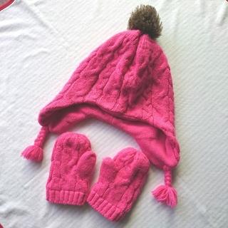 Old Navy - オールドネイビー ニット帽 帽子 手袋 ミトン ピンク 女の子 ベビー キッズ
