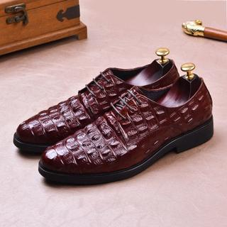 丸トウワニ革型押し皮靴本革イギリス風紳士靴ビジネスカジュアルメンズDZ630