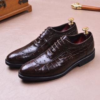 ブローグ ワニ革型押し皮靴 本革 ギリス風おしゃれ紳士靴ビジネスメンズDZ629