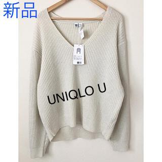 ユニクロ(UNIQLO)のUNIQLO U シャイニークロップドVネックセーター(ニット/セーター)