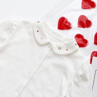 新作 襟刺繍 くま さくらんぼ オフホワイト 長袖 ブラウス お受験