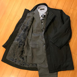 ランバン(LANVIN)のLANVIN シルク×ラム毛皮 コート(ステンカラーコート)