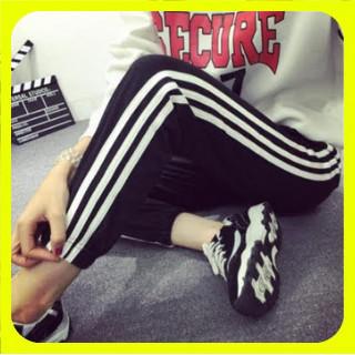 【期間限定】サイドラインパンツ ジョガーパンツ レディース 3本ライン L 黒(カジュアルパンツ)