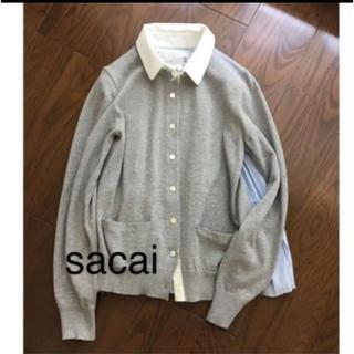 sacai - Sacai プリーツ切り替えデザインカーディガン