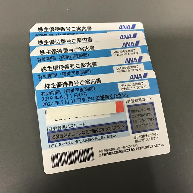 ANA(全日本空輸)(エーエヌエー(ゼンニッポンクウユ))のANA 株主優待券 2枚セット 2020年5月31日まで チケットの乗車券/交通券(航空券)の商品写真