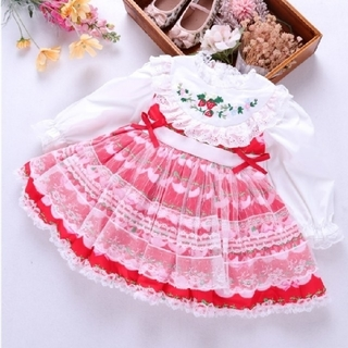 Shirley Temple - いちご刺繍のワンピース メゾピアノ、Souris、coeur a coeur
