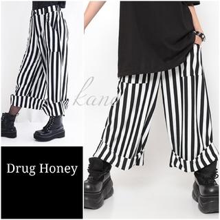 FUNKY FRUIT - 【Drug Honey】裾折り返しワイドパンツ 白黒 ドラッグハニー