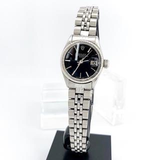 ロレックス(ROLEX)の【仕上済】ロレックス オイスター デイト 黒文字盤 シルバー レディース 腕時計(腕時計)