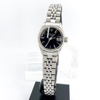 ROLEX - 【仕上済】ロレックス オイスター デイト 黒文字盤 シルバー レディース 腕時計