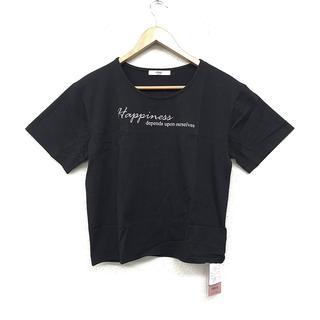 eimy istoire - 新品 未使用 レディース エンブロダイリーメッセージ Tシャツ 黒 半袖 人気